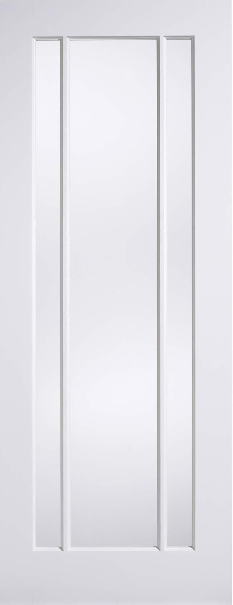 Worcester White Primed Clear Glazed 3 Panel Internal Door   Kaybee Doors