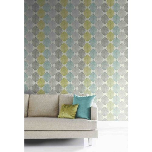 Teal / Lime Green 408207 Retro Leaf Motif Arthouse