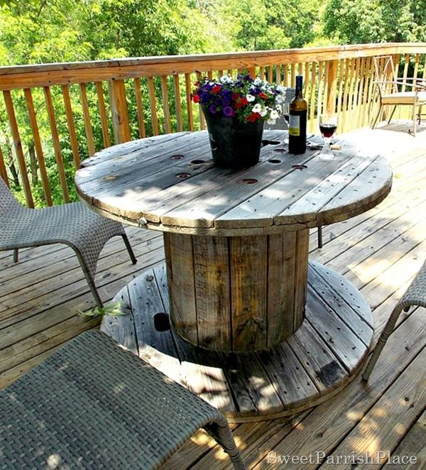 Wooden Spool As Patio Table Back Deck Tour Outdoor Patio Table