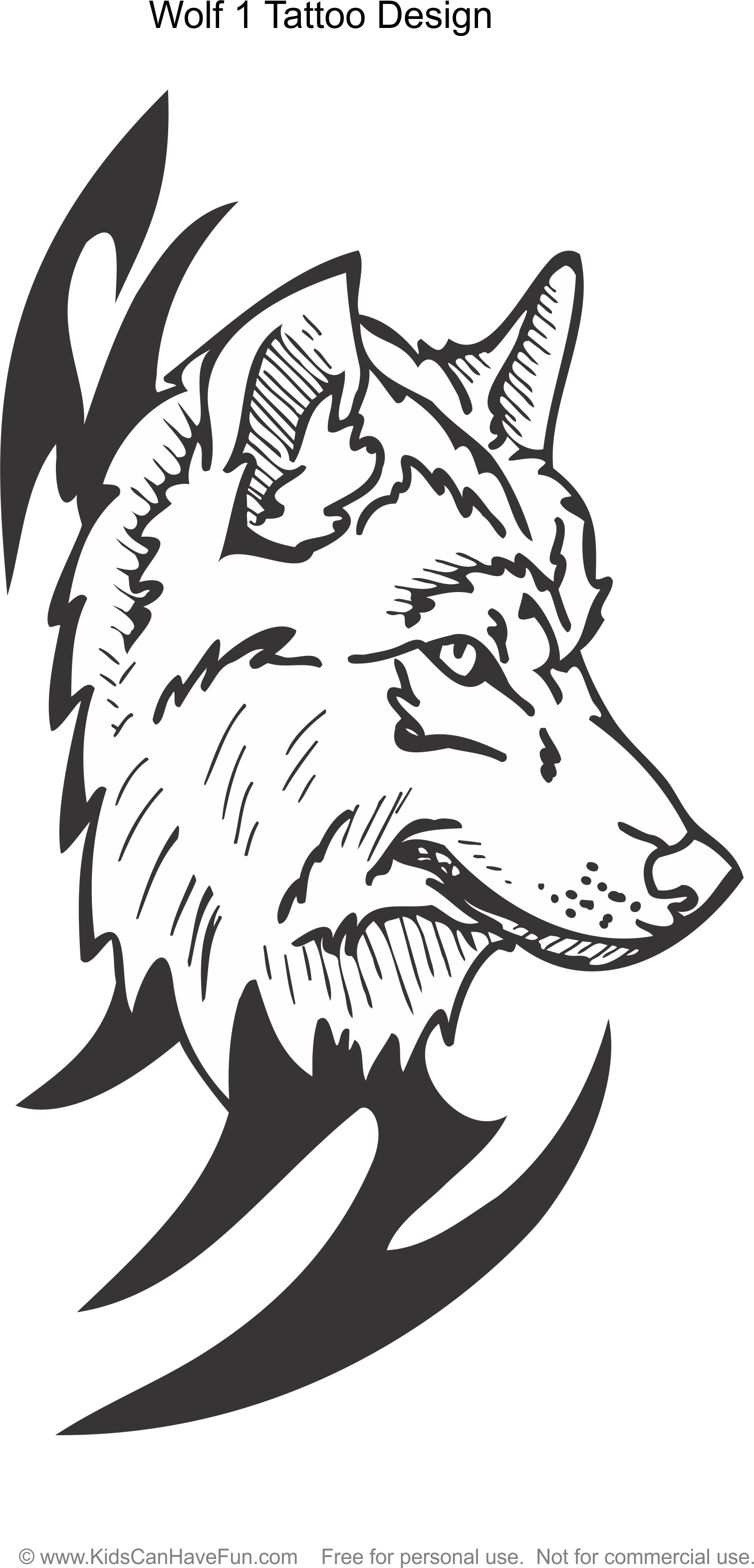 Wolf 1 Tattoo Design coloring page http//www