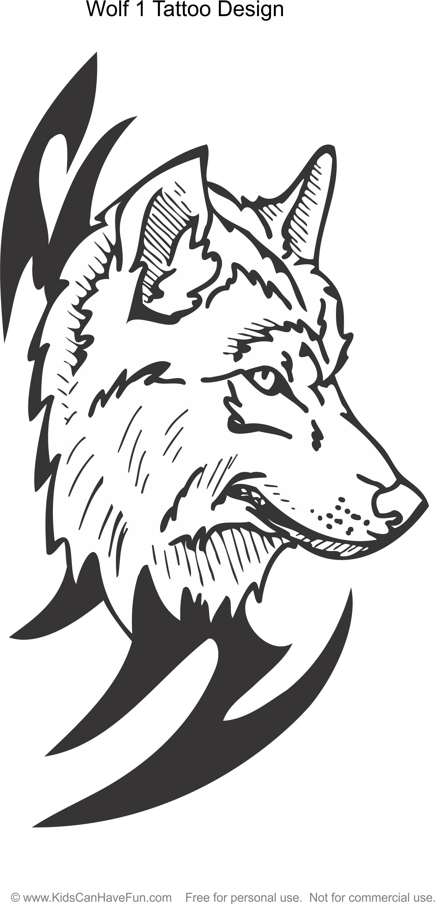 Wolf 1 Tattoo Design coloring page http://www.kidscanhavefun.com ...