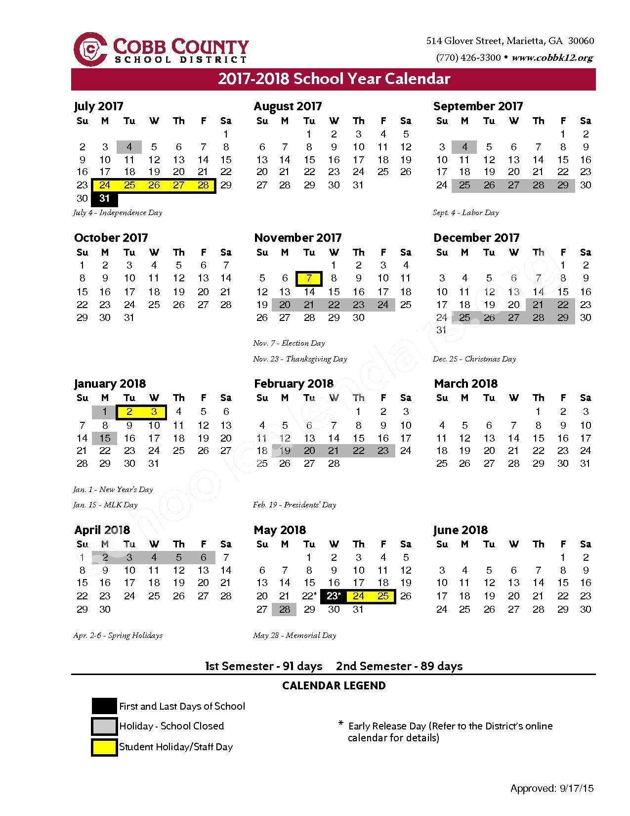 2017 2018 district calendar cobb county school district page 1