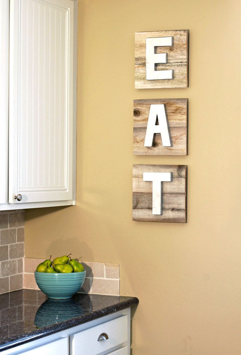 EAT Sign on Reclaimed Wood with Dimensional Painted Metallic Letters ...