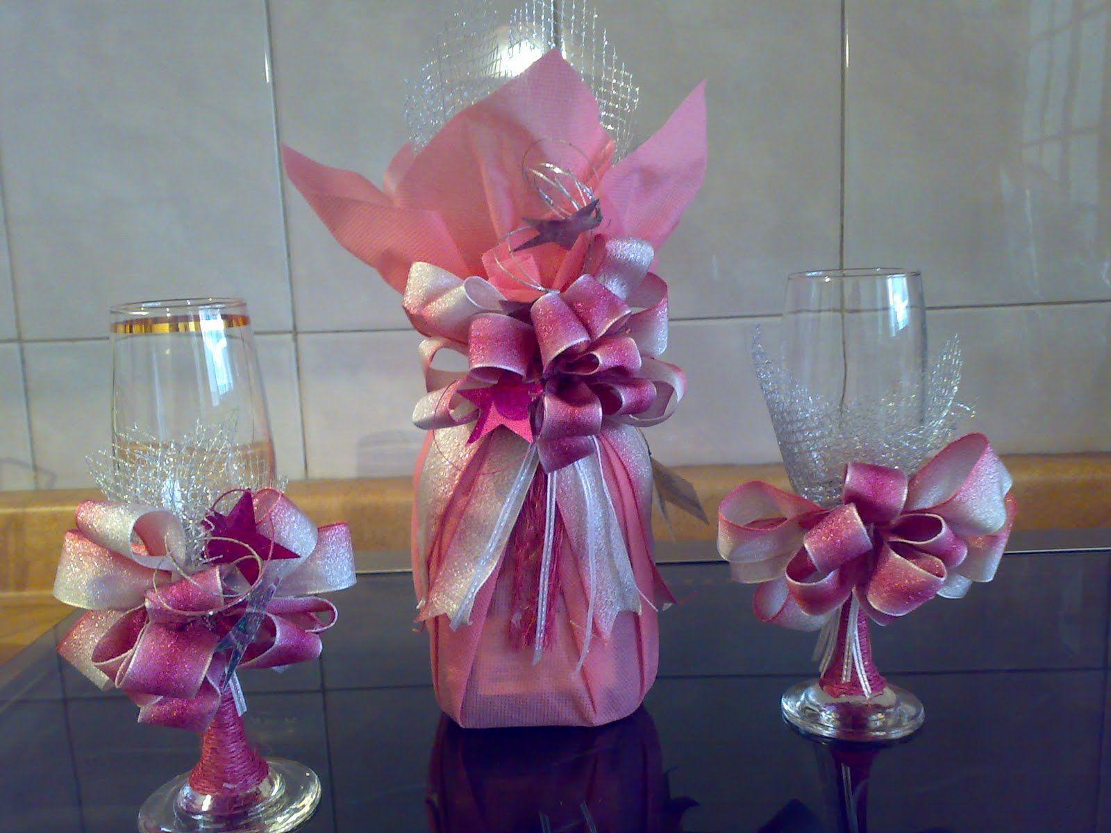 Decoraciones para copas quinceaneras botellas decoradas - Decoracion de botellas ...