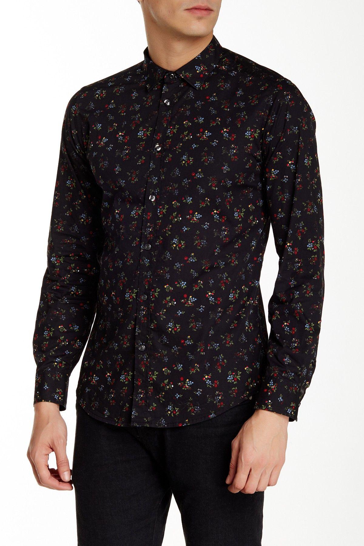 Dinar Floral Print Long Sleeve Shirt Shirt Sleeves Long Sleeve Shirts Shirts [ 1800 x 1200 Pixel ]