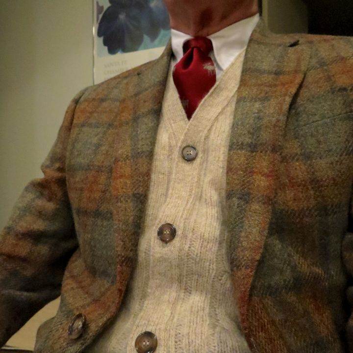Nick Hilton blanket plaid sport coat, with O'Connell's Shetland Wool cable-knit sleeveless cardigan. BB OCBD with J. Press Moose tie.