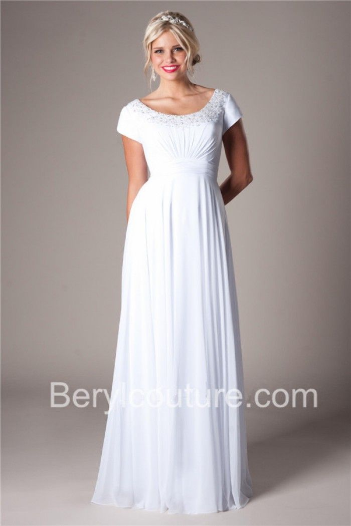 Modest Sheath Scoop Neck And Back Chiffon Beaded Destination Wedding Dress Short Sleeves