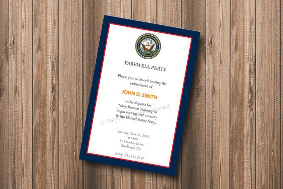 Military Farewell Party Invitation (all branches available) - DIY Personalized Printable Invitation