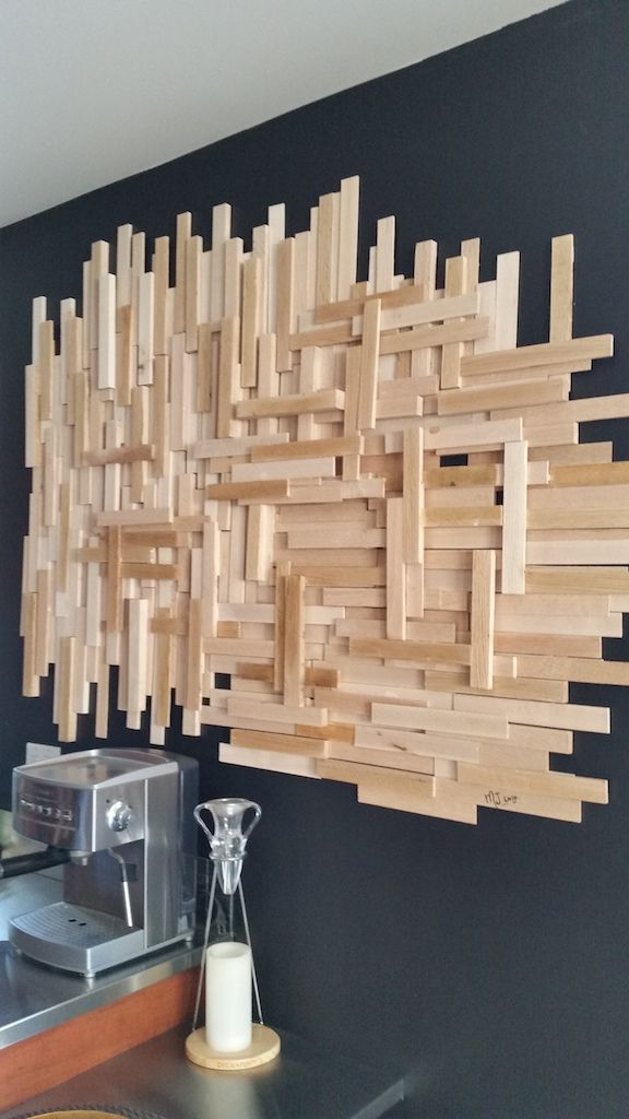 un diy de d co murale en bois pour moins de 20 decoration salons and walls. Black Bedroom Furniture Sets. Home Design Ideas