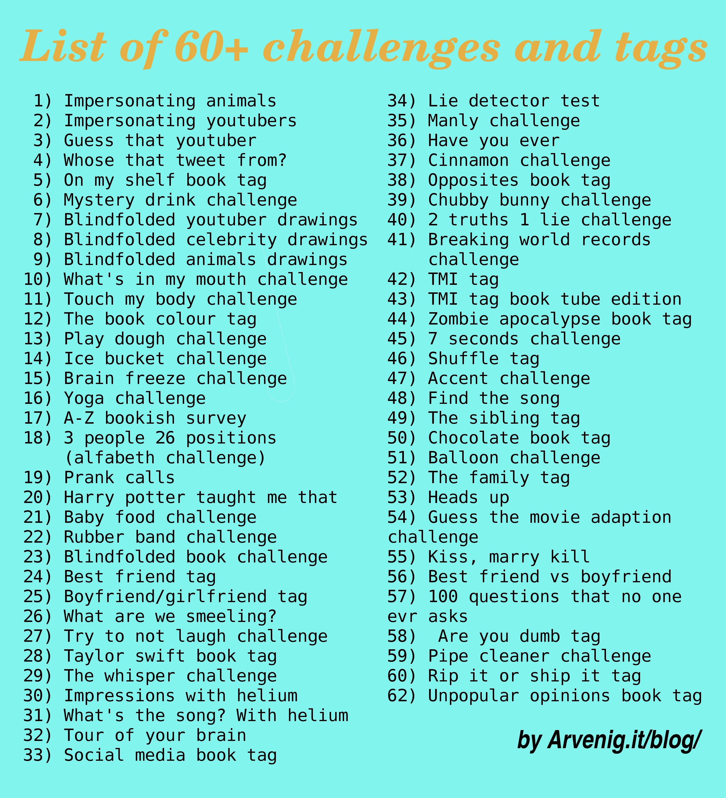 List of 60+ challenges and tags to do | Arvenig it | Youtube