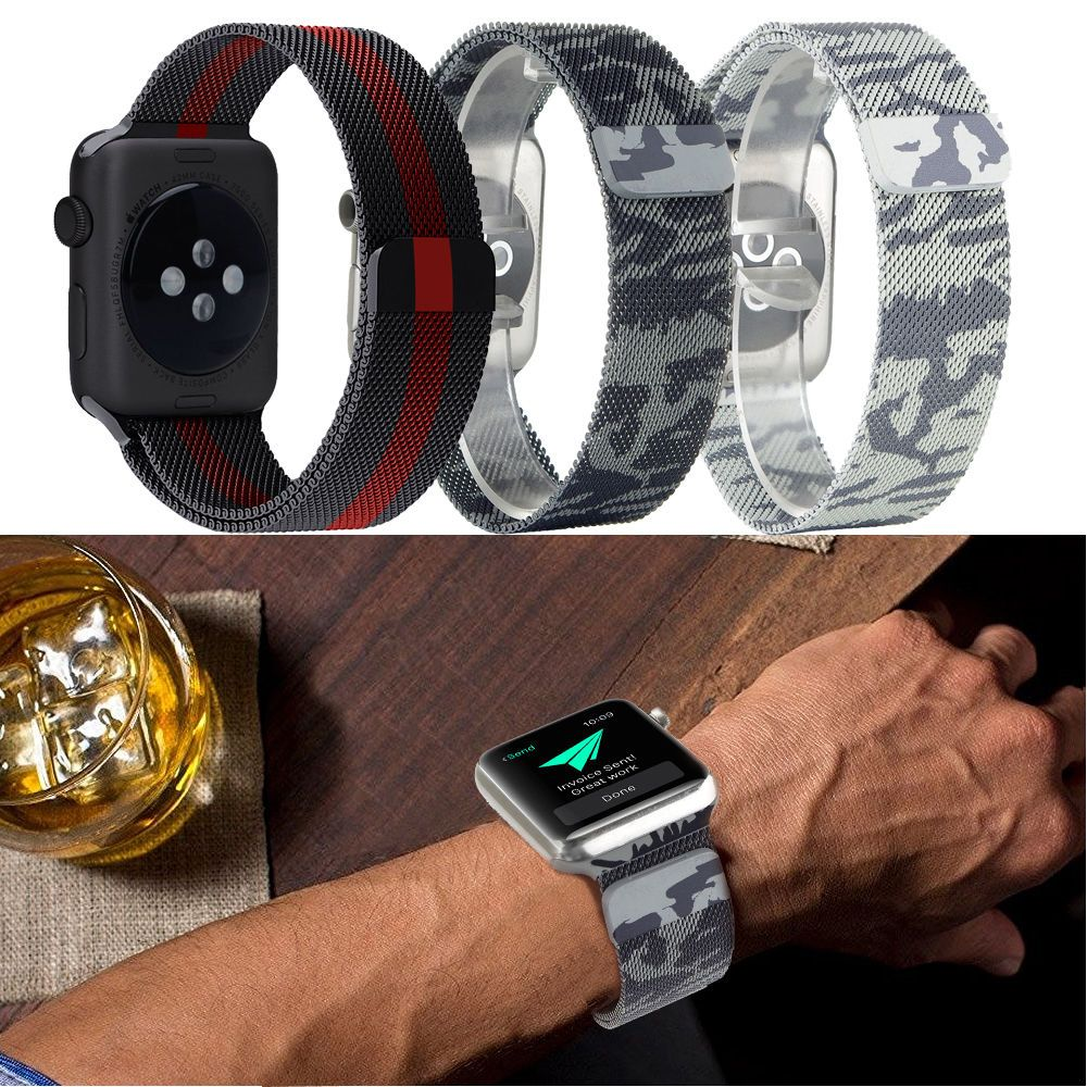Camouflage Mesh Watch Band Camo Genuine Leather Wrist Strap For Apple Watch Watch Bands Wrist Strap Leather