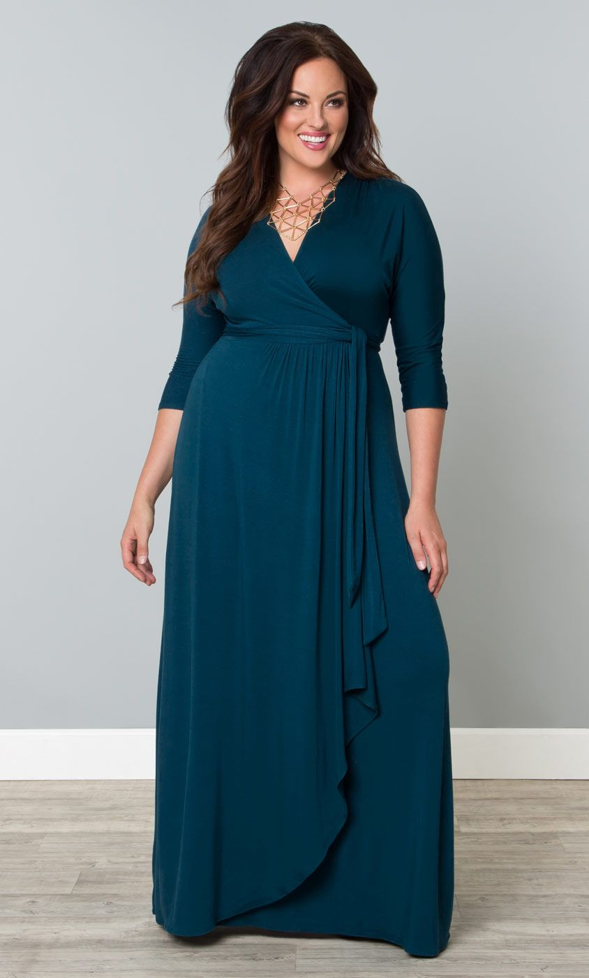 Indulge yourself in rich teal with our plus size wrapped in romance