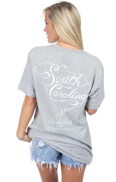 Heather Grey - South Carolina Line Art Tee - Short Sleeve Back