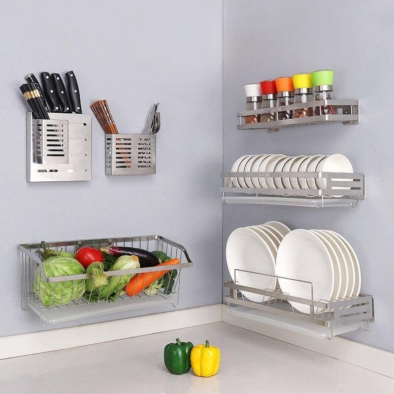 304 Stainless Steel Wall Mount Kitchen Storage Rack
