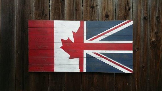 Half Canada Half U K Vintage Style Wall Art Flag On Wood