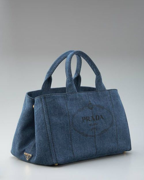a88a5d1e17e381 Prada Denim Logo Tote | Handbags | Bags, Denim bag, Canvas tote bags