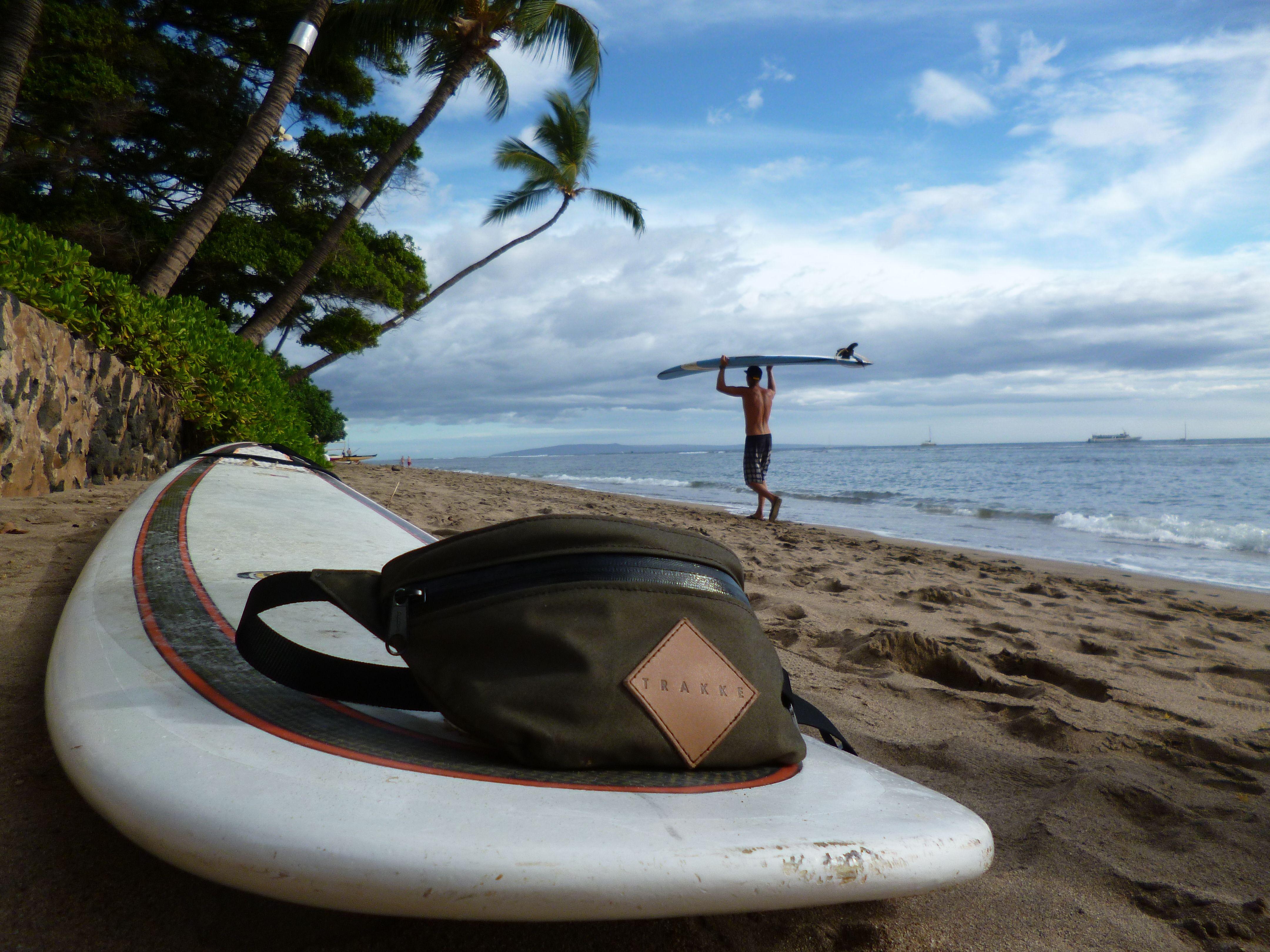 Kate Skalova with a Trakke Banana in Hawaii.