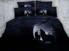 3d Printed Wolf Bed Bedding Set Queen King Twin Moon Black Comforter Doona Quilt Duvet Cover Kid Owl Ani Black Bed Set Animal Print Bedding King Size Bed Linen