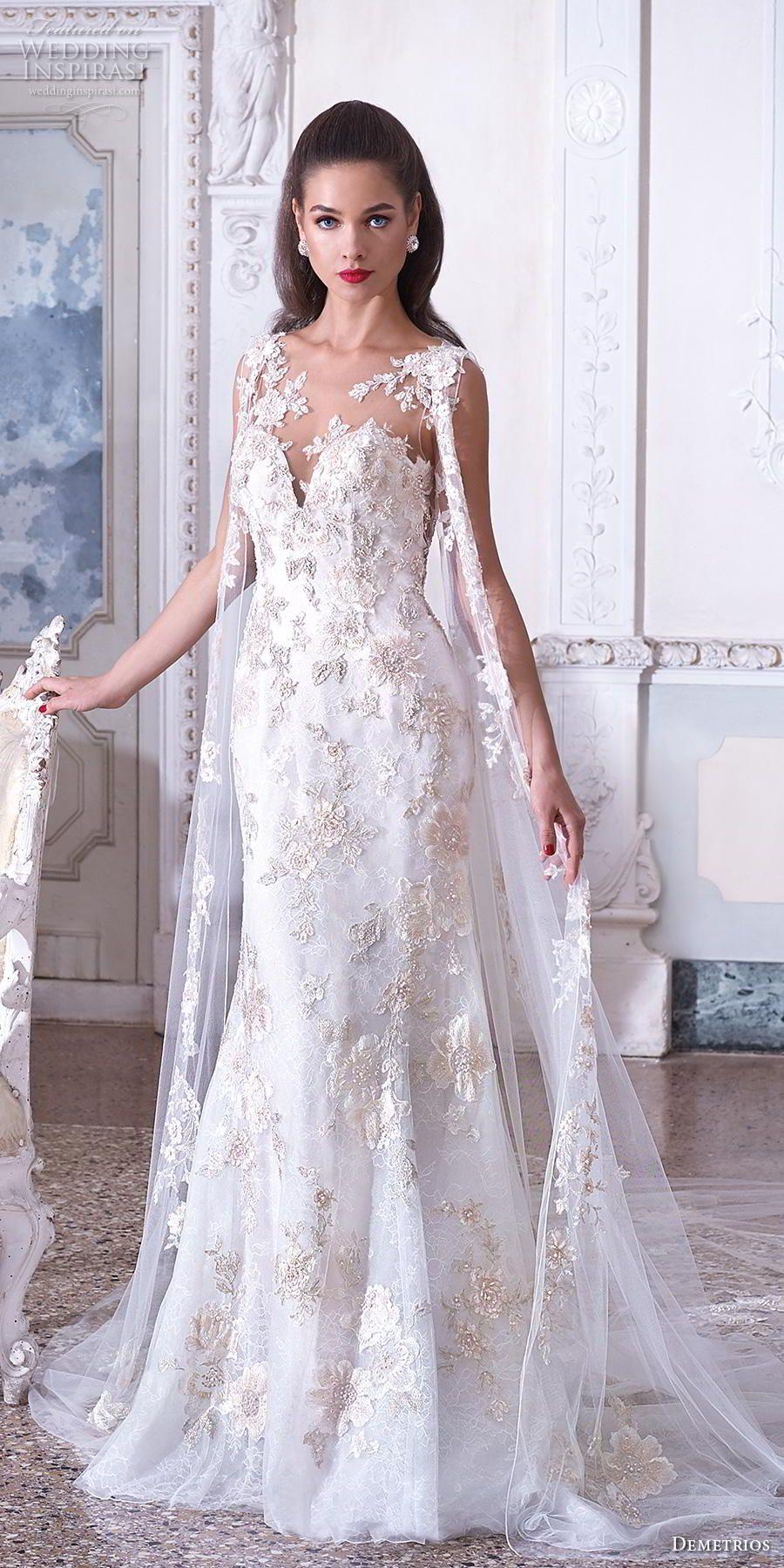 demetrios 2019 bridal sleeveless illusion bateau deep sweetheart neckline  full embellishment glamorous elegant fit and flare trumpet wedding dress  with cape ... 8bb44e409193