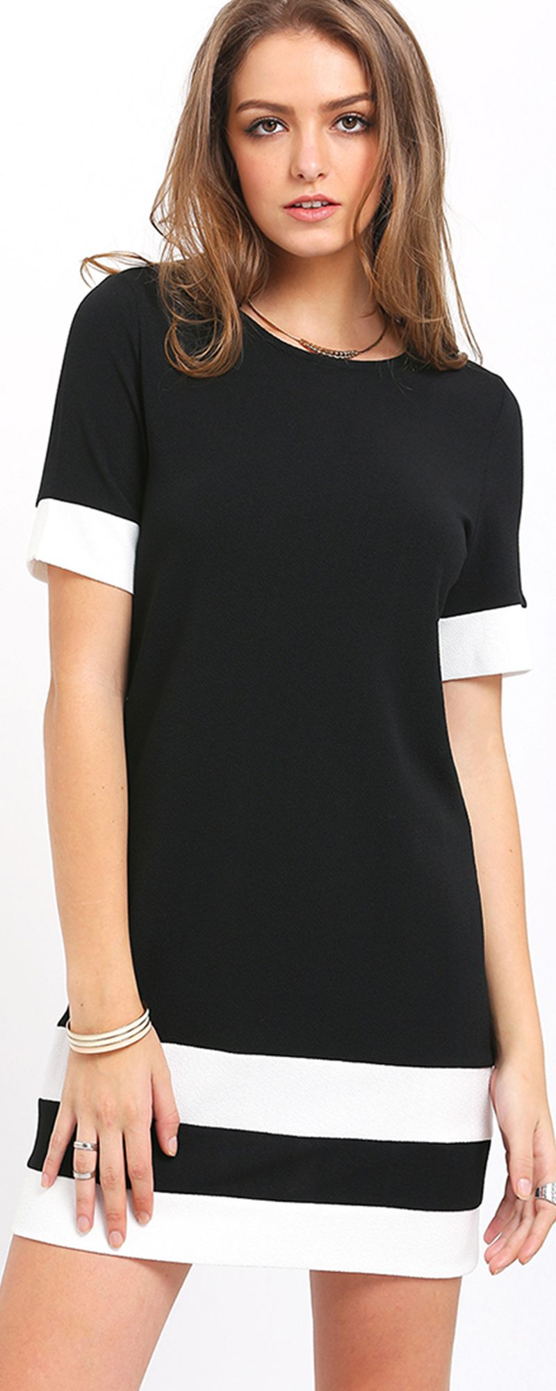 1a2650975c Black White Patchwork Short Sleeve Shift Dress