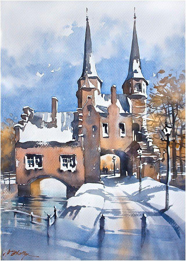 Oostpoort in Winter - Delft Thomas W Schaller Watercolor 22 x 15 inches 18 Dec. 2014