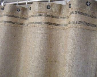Burlap Door Shower Stall Curtain With Standard Grommet Top In