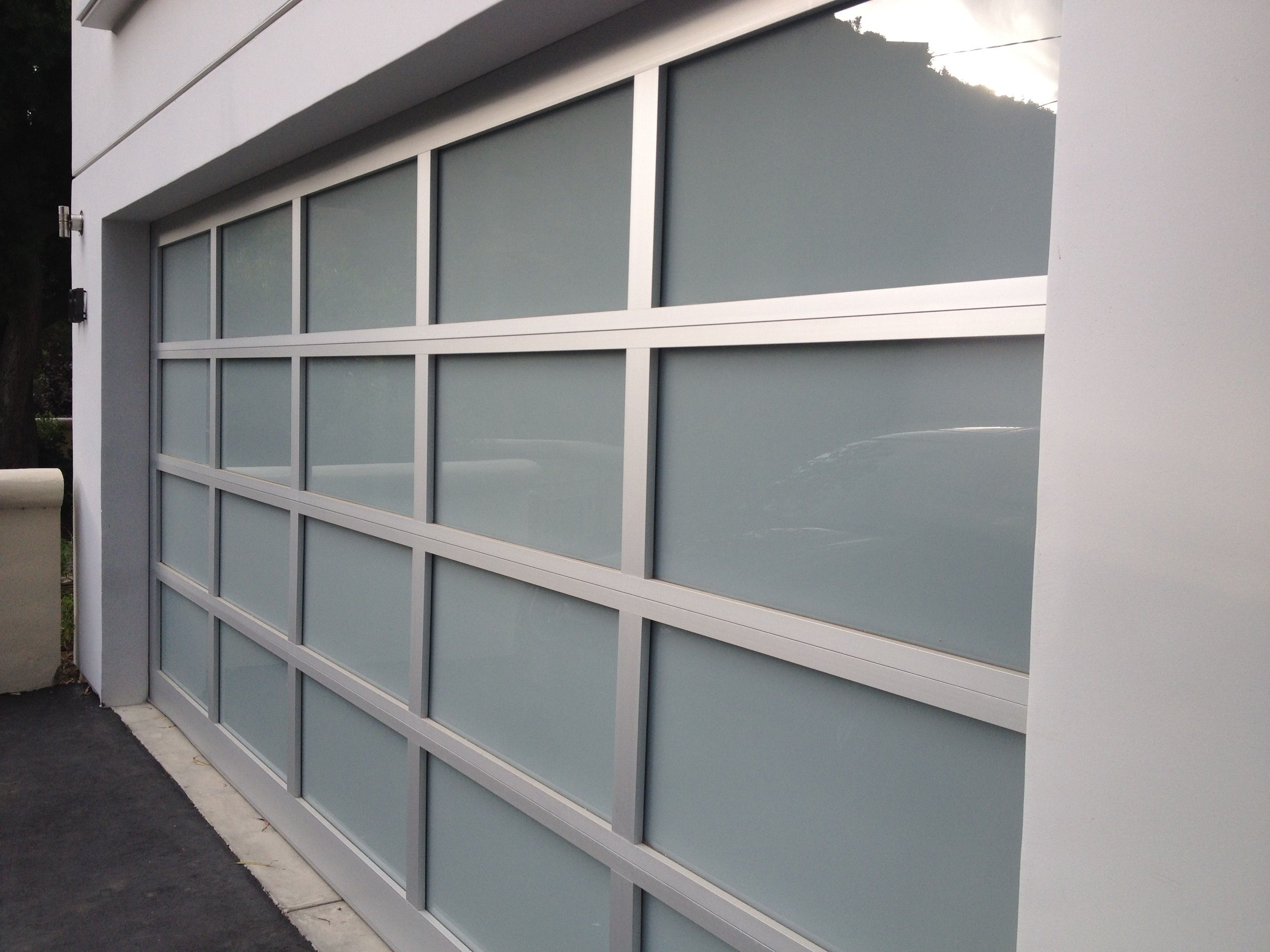Anodized Aluminum With White Laminate Glass Garage Doors Garage