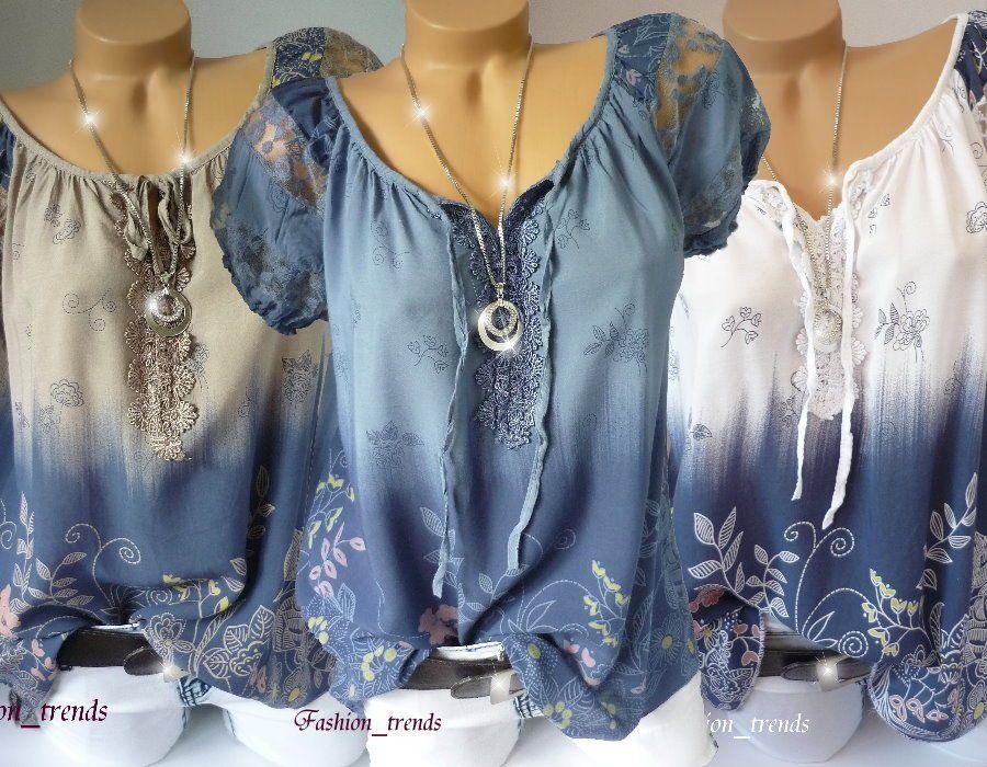 1d7c198461df48 Italy Vintage Blumen Bluse Häkel Spitze Shirt Top Tunika Lagenlook  40 42  44 in Kleidung   Accessoires