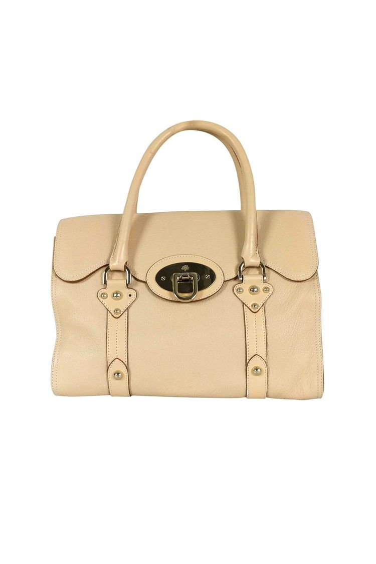 Mulberry - Cream Leather Fold Over Satchel Bag #AD , #Ad, #Leather, #Cream, #Mulberry, #Bag, #Satchel #mulberrybag