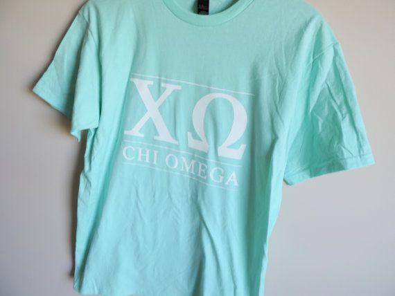 New Chi Omega Tultex Mint Green Short Sleeve by WildKardVintage