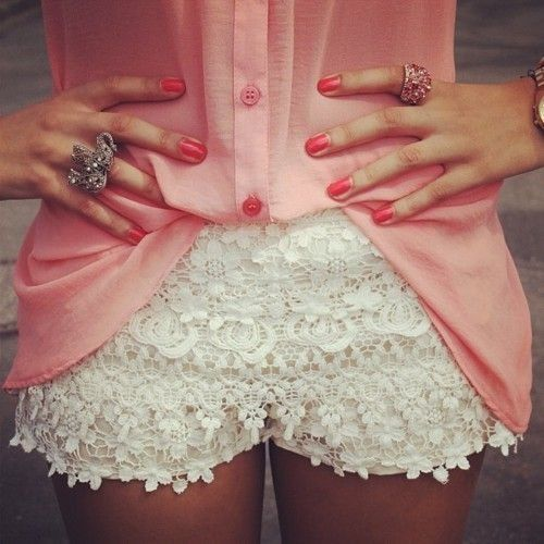 pink button down and lace shorts