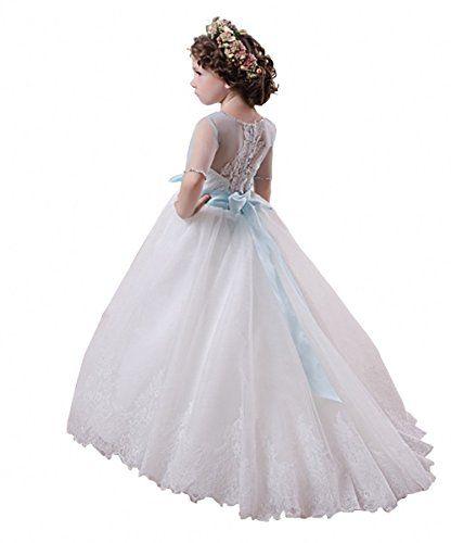 Fille communion fête bal princesse Pageant demoiselle d/'honneur Mariage Fleur Fille Robe