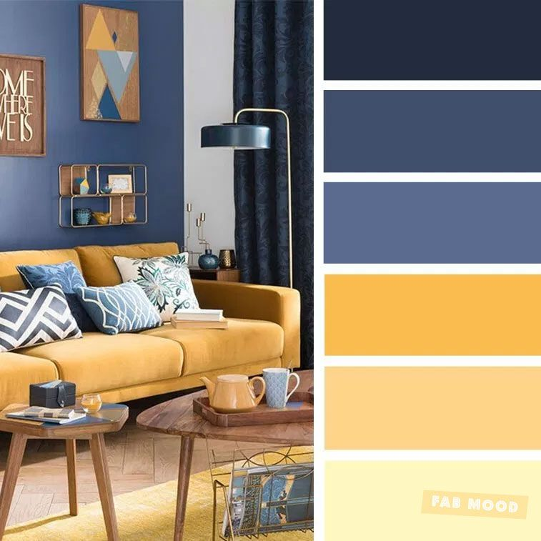 The best living room color schemes - Blue and Mustard Color Palette