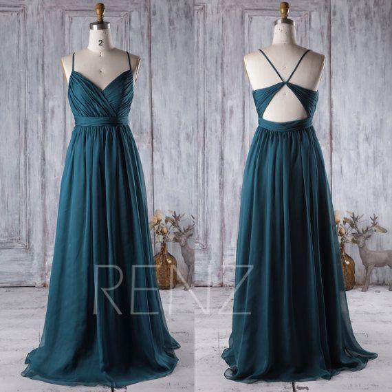 2017 Dark Turquoise Bridesmaid Dress, Open Back Wedding Dress ...