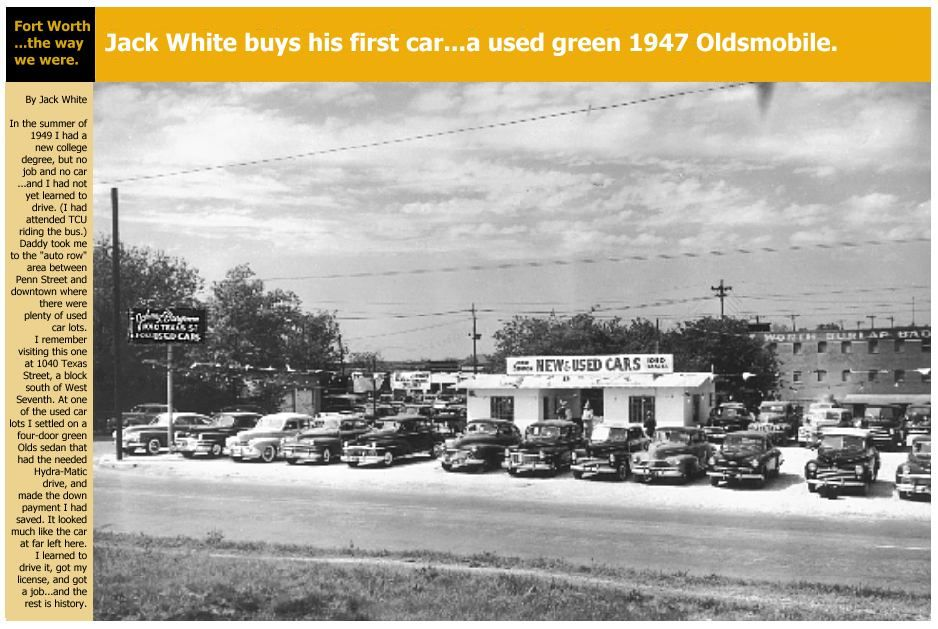 Used Car Lot. Summer of 1949, Ft. Worth Texas. Used car