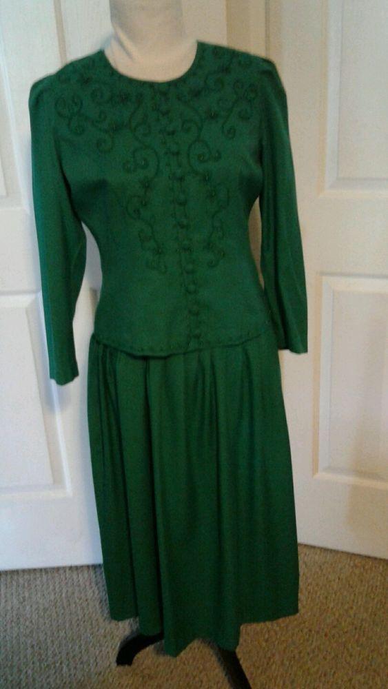 Karin Stevens Long Sleeved Dress 10 Petite Green Ebay Ladies