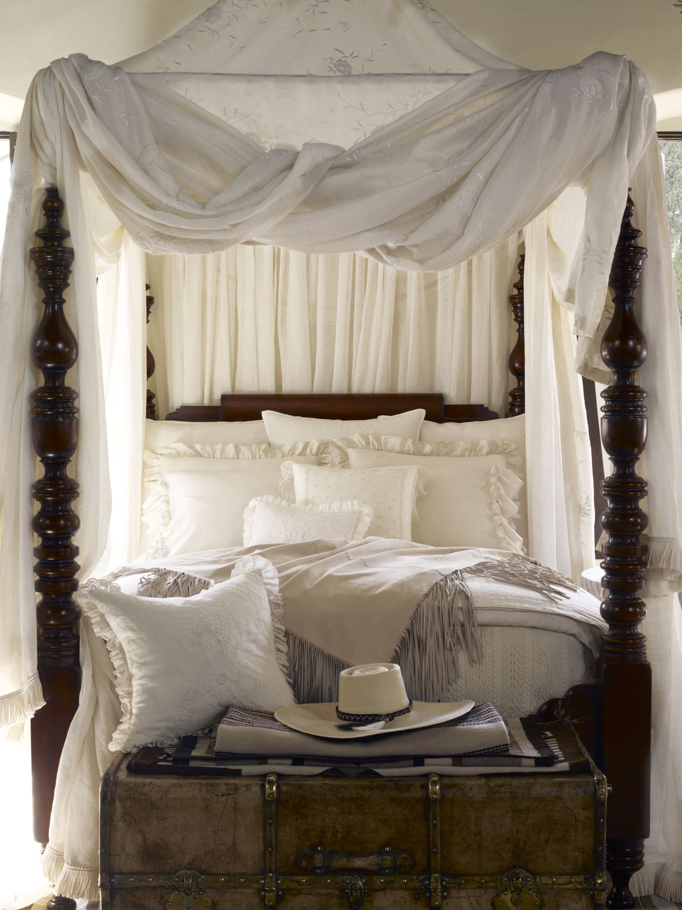 Romantic four post canopy bed from ralph lauren home in - Pictures of canopy beds ...