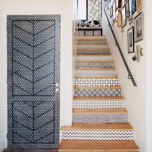 Contremarche en carreaux de ciment id es pour la maison - Escalier carreaux de ciment ...