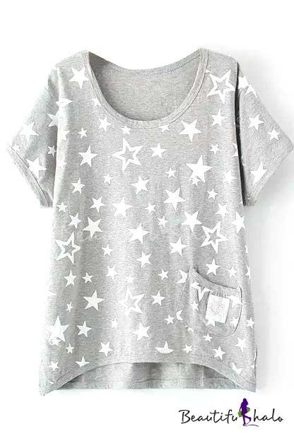Gray Short Sleeve White Star Single Pocket T-Shirt