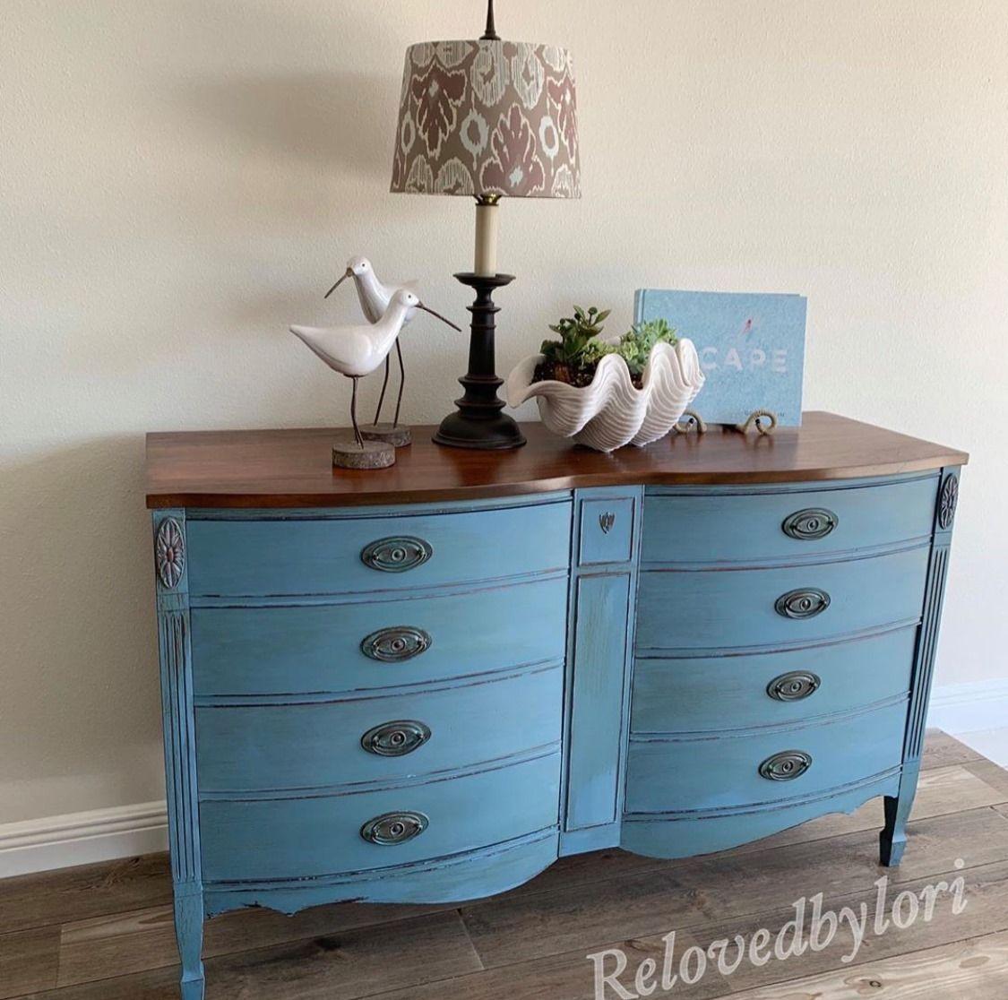 Blue Dresser Makeover in 2020   Blue dresser, Annie sloan ...