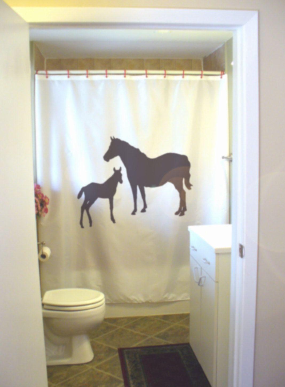 Genial Mare And Foal Shower Curtain Mother Baby Horse Farm Stable Bond Horses  Bathroom Decor Kids Bath