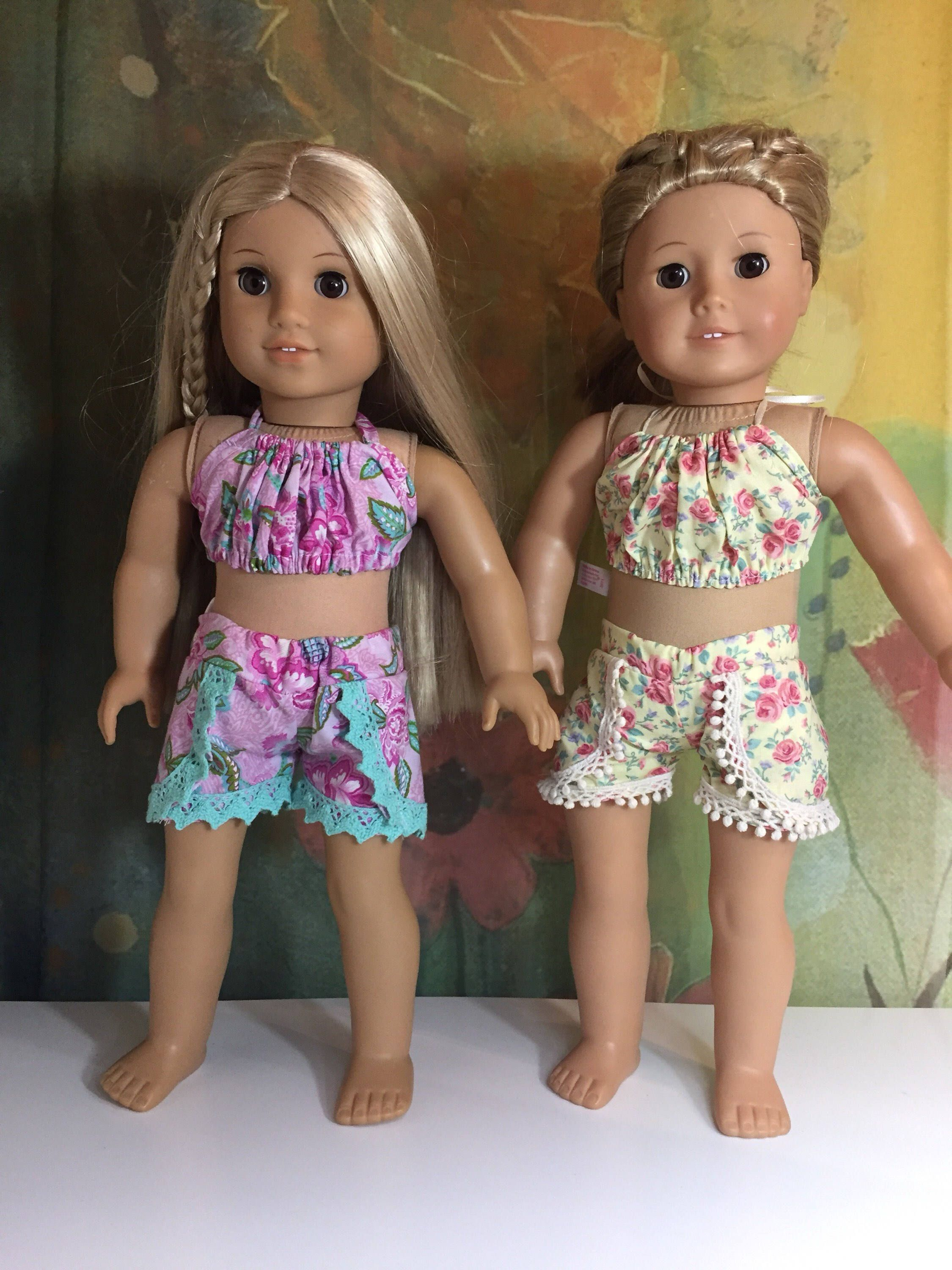"Pastel Tie Dye Shorts//Pink Tank for 18/"" Doll Clothes American Girl"