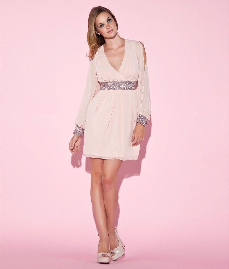 Lipsy | Sequin Cuff Split Sleeve Dress | Before the Clock Strikes ...