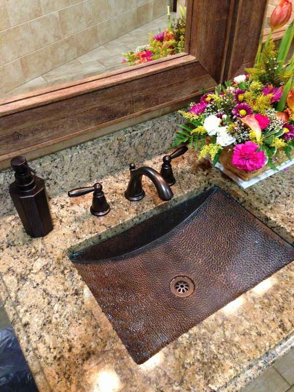 Gorgeous  Bathroom Countertops with Copper Sink www remodelworks com. Gorgeous  Bathroom Countertops with Copper Sink www remodelworks