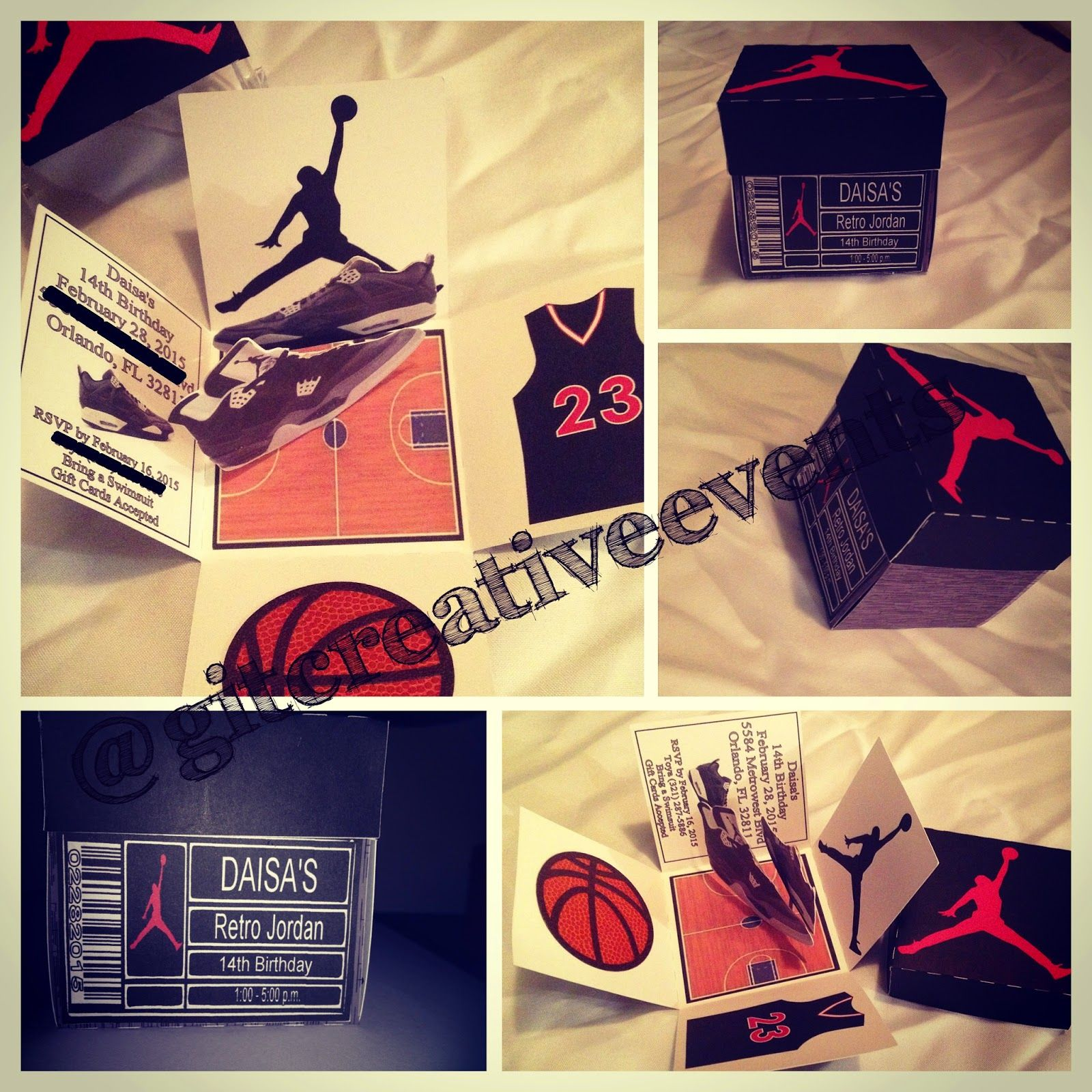 Retro Jordan Shoe Box Inspired Exploding Box Invitation