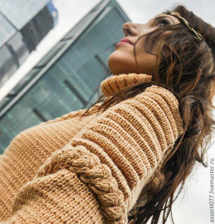 """Купить Свитер женский """"Скорпион"""" - бежевый, араны, косы, ручная работа, вязание, свитер"""