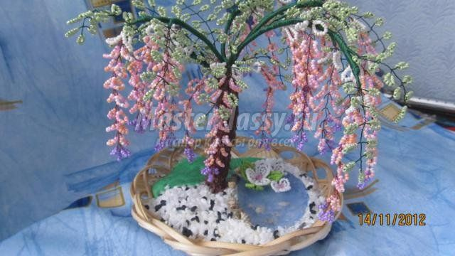 wisteria tree from beads.  Master class with step by step photos