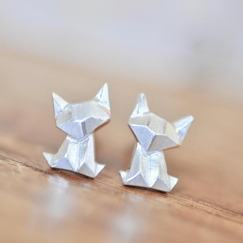 Photo of Origami Cat Earrings in Sterling Silver, Cat Jewelry, Fox Earrings, Cat Earrings, Silver Cat Earring