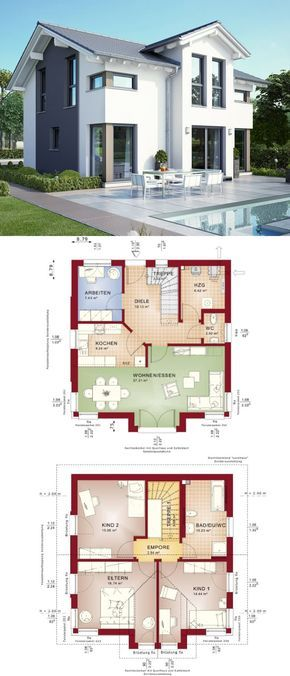 Modernes Fertighaus Mit Satteldach   Haus Celebration 125 V8 Bien Zenker    Einfamilienhaus Bauen Grundriss Modern