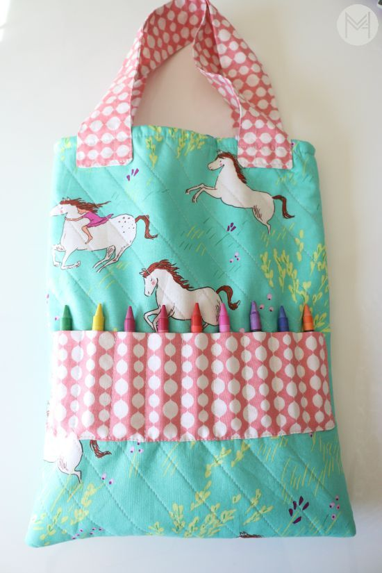 How To Sew A Crayon Tote Bag Sewing Projects For Beginners Sewing Projects For Kids Sewing For Beginners